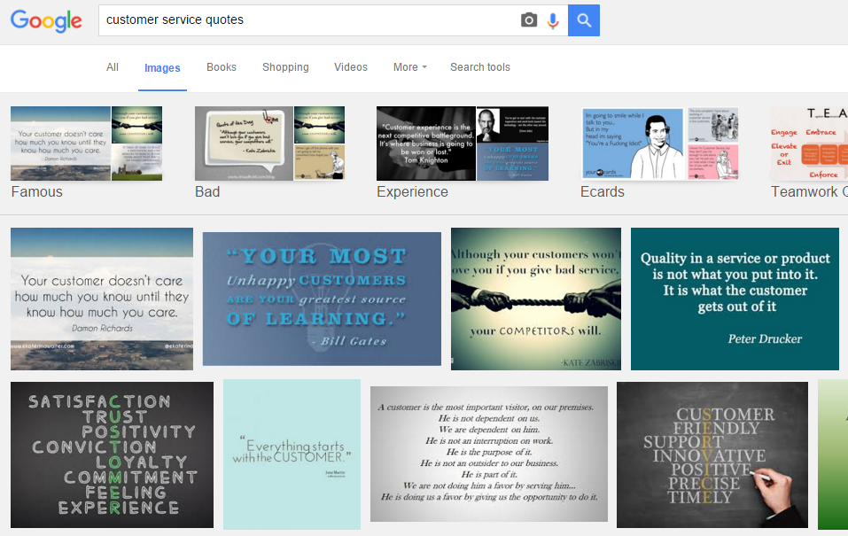 Google image search customer service quotes
